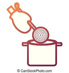 pot, lepel, handschoen, keuken