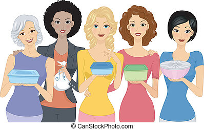 Pot Luck Party - Illustration of Women Carrying Different...