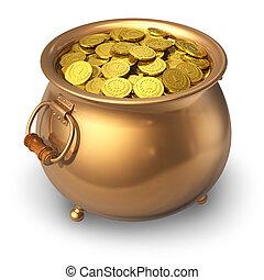 pot, muntjes, goud