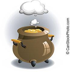 Pot of brew over white. EPS 8, AI, JPEG