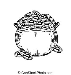 Pot of coins engraving vector illustration - Pot full of...