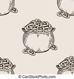 Pot of coins seamless pattern engraving vector - Pot full of...