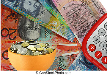pot of coins with dollars and calculator