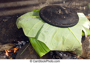 pot of food outdoor cooking Nicaragua - pot of rundown...
