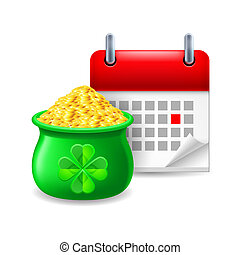 Pot of gold and calendar - Icon of pot of gold and calendar...