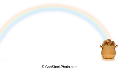 pot of gold and rainbow - pot of gold at end of rainbow on...