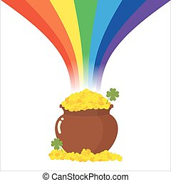 Pot of gold and Rainbow. Magical leprechaun treasure. Clover and gold coins. Illustration of feast of St. Patrick in Ireland