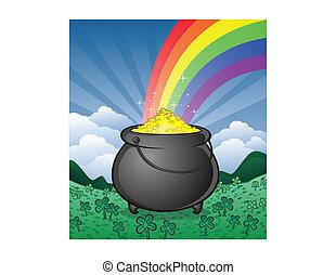 Pot of Gold and Shamrocks Cartoon - A pot of gold on Saint...
