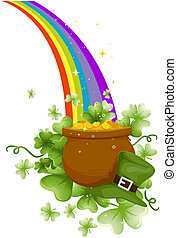 Pot of Gold at the End of the Rainbow with Clipping Path