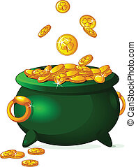 Pot of gold - Pot full of golden coins. St. Patrick's theme....