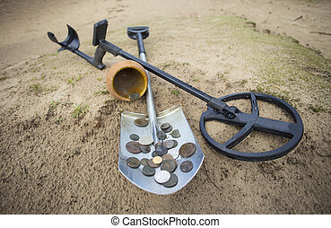 Pot of gold coins collected with help of metal detector,...