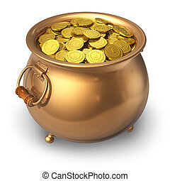 Pot of gold coins - Pot full of gold coins isolated on white...