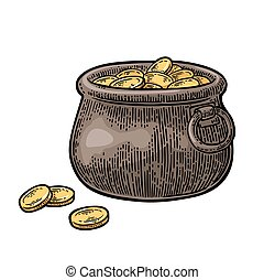 Pot of gold coins.. Vector vintage engraving color...