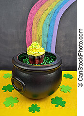 Pot of Gold Cupcake at the End of a Rainbow
