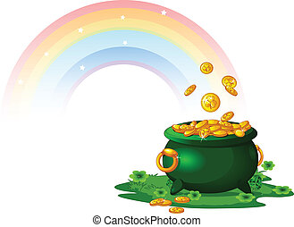 Pot of Gold - Pot full of golden coins at the End of the...