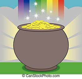 Pot of Gold - Glowing pot of gold is resting at the end of...