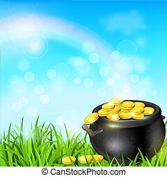 Pot of gold in a green grass