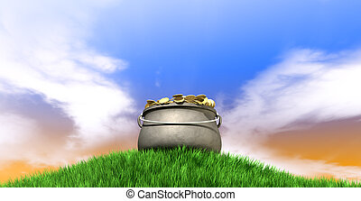 Pot Of Gold On Grassy Hill