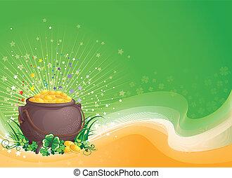 Pot of gold on Saint Patrick's Day.