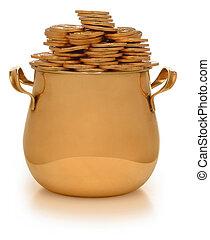 pot of gold on white