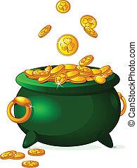Pot of gold - Pot full of golden coins. St. Patrick's theme.