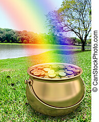 Pot of Gold - Pot of gold full of gold coin. Fortune on the...