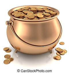 Pot of gold full of gold coin.