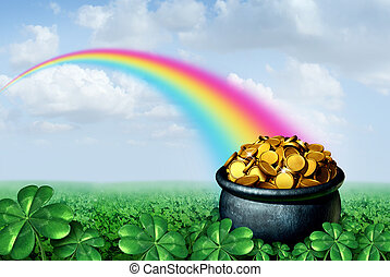 Pot Of Gold Rainbow - Pot of gold at the end of a rainbow...