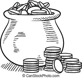 Pot of gold sketch - Doodle style pot of money sketch in...