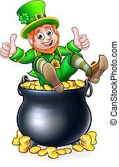 Pot of Gold St Patricks Day Leprechaun