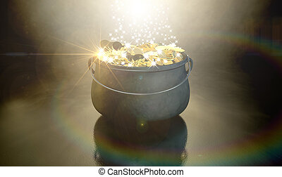 Pot Of Gold - A cast iron pot filled with gold coins and...
