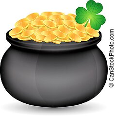 Pot of gold with clover isolated white. St. Patrick's day....