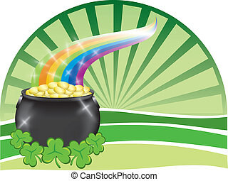Pot of gold with rainbow - A big pot of gold with shiny...