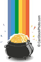 Pot of gold with rainbow vector illustration