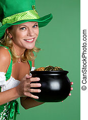 Pot of Gold Woman - Irish woman holding pot of gold