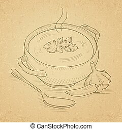 Pot of hot soup.
