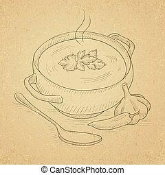 Pot of hot soup.