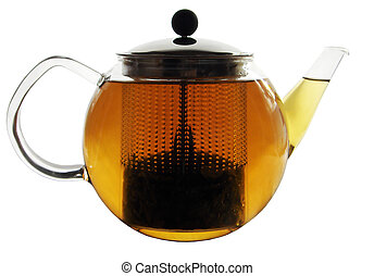 Pot of Mint Tea - A clear plunger style tea pot with fresh...