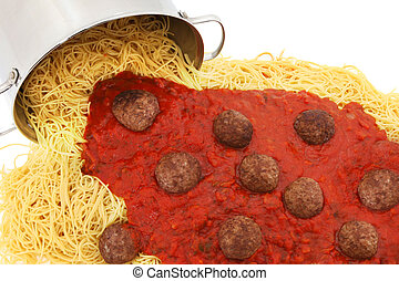 Pot of Spaghetti Noodles with Meatballs and Sauce
