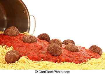 Pot of Spaghetti Noodles with Meatballs