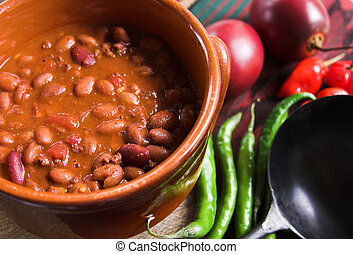 pot of texas chili with beans