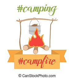 pot on bonfire, camping theme. vector illustration. Hot foodin wild nature. Survive in forestor hunting goods.