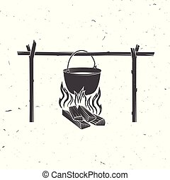 Pot on the fire silhouette. Vector illustration.