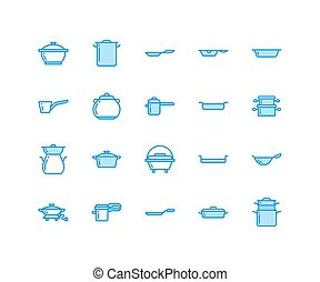 Pot, pan and steamer line icons. Restaurant professional...