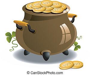 pot, patrick's, (st., goud, day)
