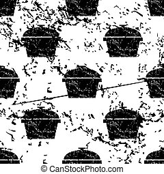 Pot pattern, grunge, monochrome