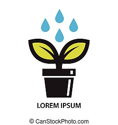 Pot plant leaf and water drop icon