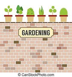 Pot Plants On Brick Wall.