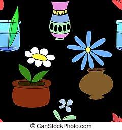 Pot plants seamless pattern flowers in pots
