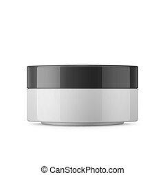 pot, plastique, produits de beauté, blanc, rond, lustré